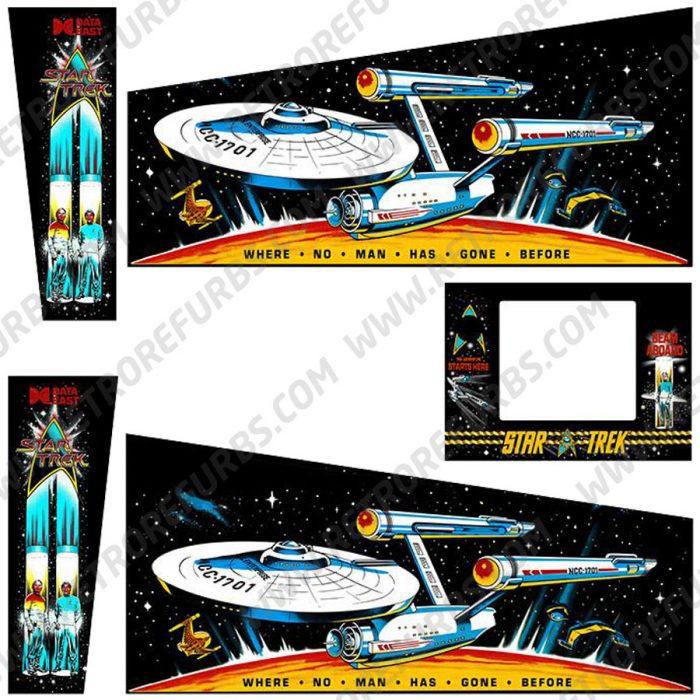 Star Trek 25th Pinball Cabinet Decals Flipper Side Art Data East Original