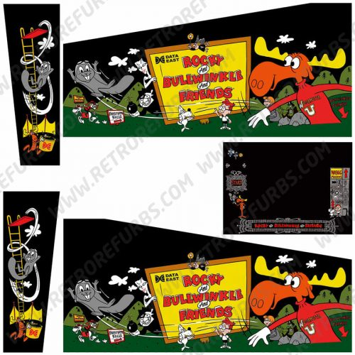 Rocky & Bullwinke Black Alternate Pinball Cabinet Decals Flipper Side Art