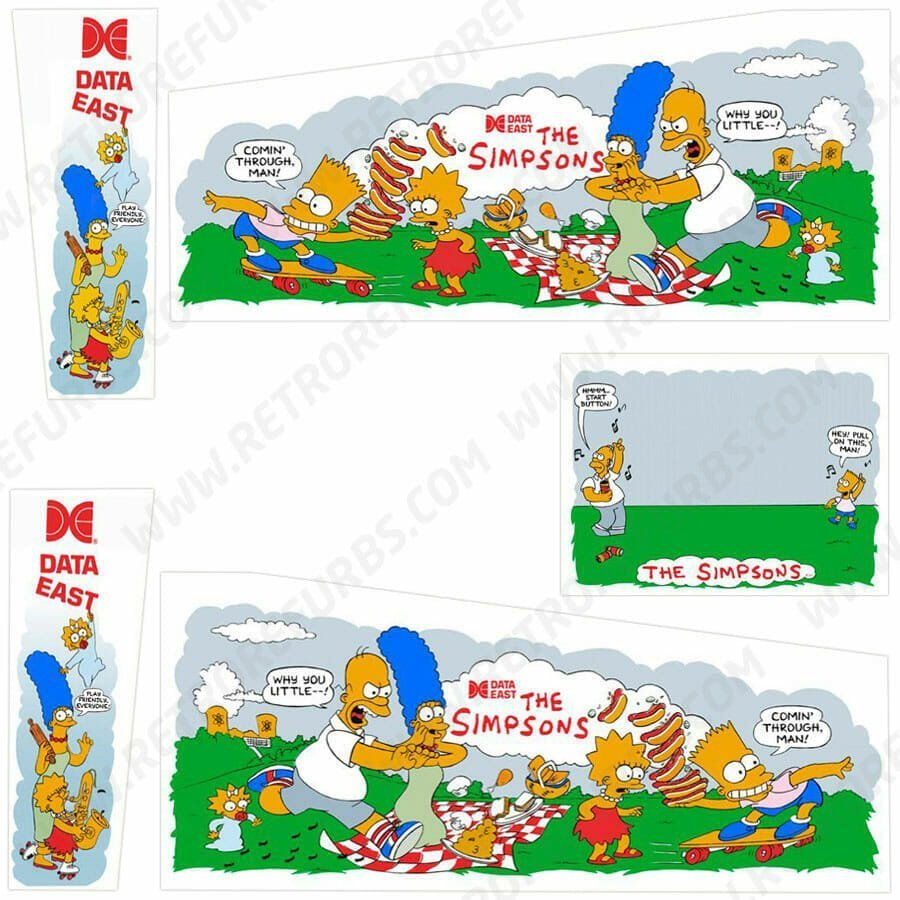 The Simpsons Data East Pinball Cabinet Decals Retro