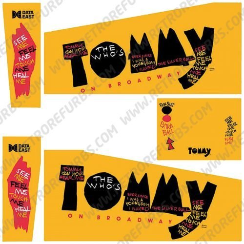 The Who's Tommy Pinball Wizard Tommy Pinball Cabinet Decals Flipper Side Art Data East Original