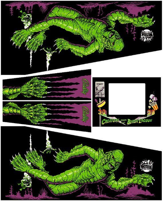 Creature From The Black Lagoon Pinball Cabinet Decals Flipper