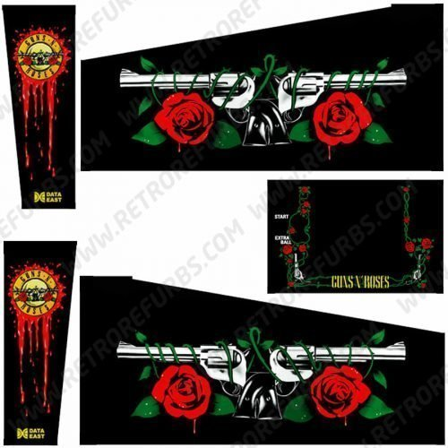 Guns N' Roses Pinball Cabinet Decals Flipper Side Art