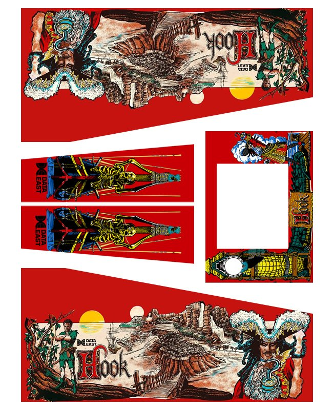Hook Pinball Cabinet Decals