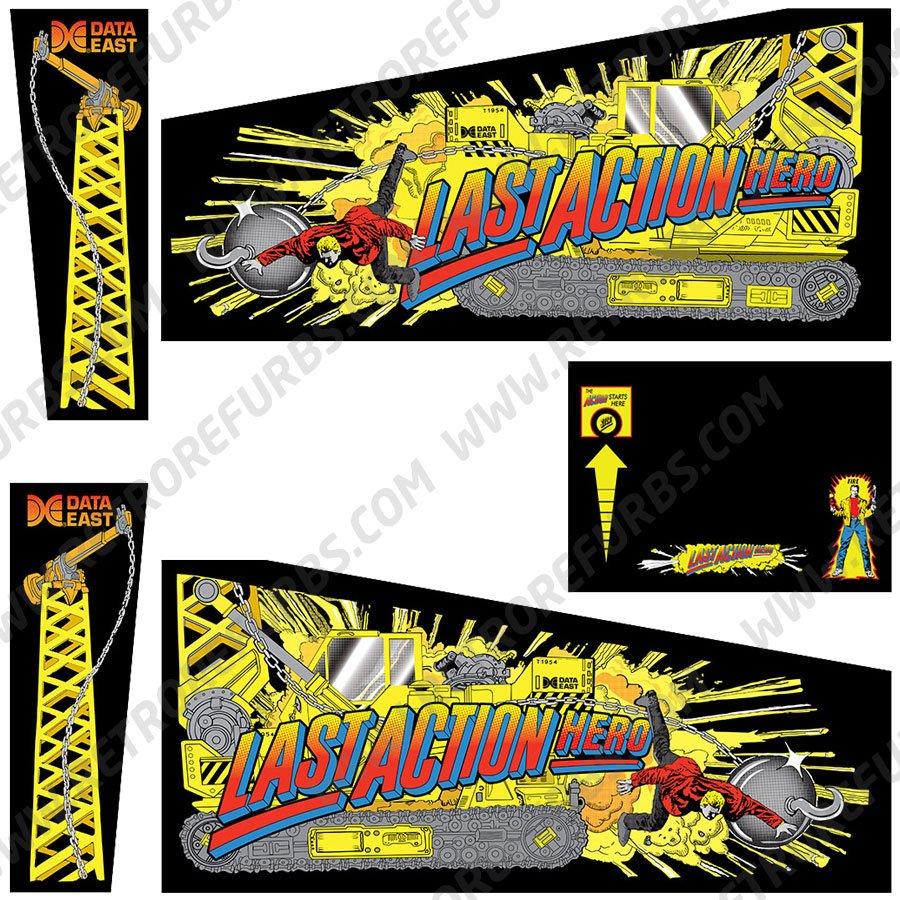 Last Action Hero Pinball Cabinet Decals Flipper Side Art Data East Original