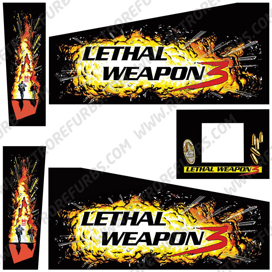 Lethal Weapon 3 Black Alternate Pinball Cabinet Decals Flipper Side Art Data East