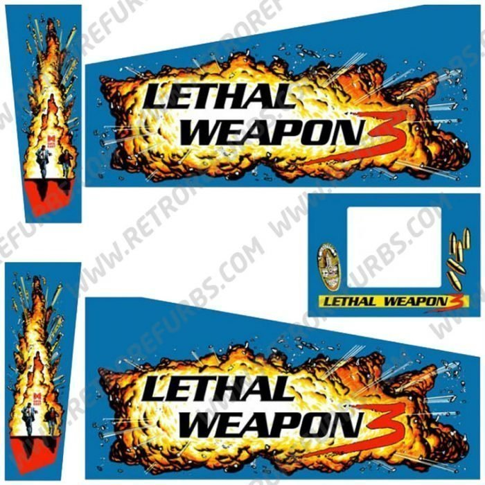 Lethal Weapon 3 Pinball Cabinet Decals Blue FLipper Side Art