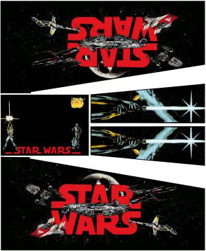 Star Wars Black Pinball Cabinet Decals Flipper