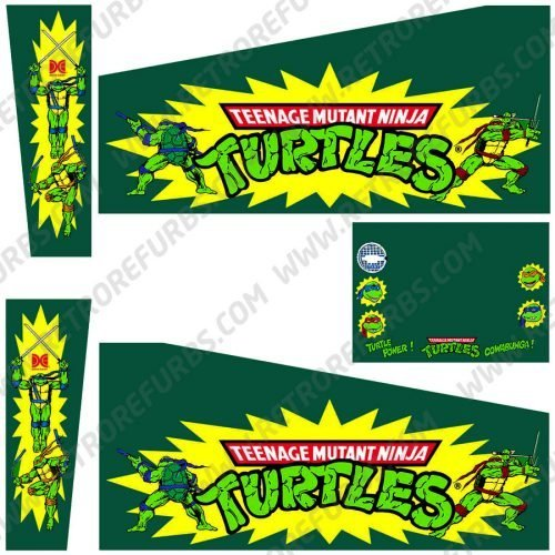 Teenage Mutant Ninja Turtles Original Pinball Cabinet Decals Flipper Side Art Data East