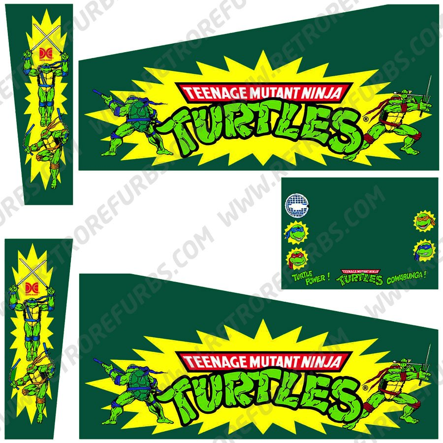 Teenage Mutant Ninja Turtles Original Pinball Cabinet Decals Flipper Side Art Data East