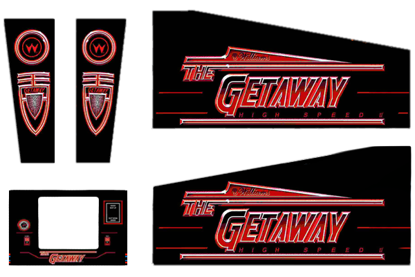 The Getaway Pinball Cabinet Decals