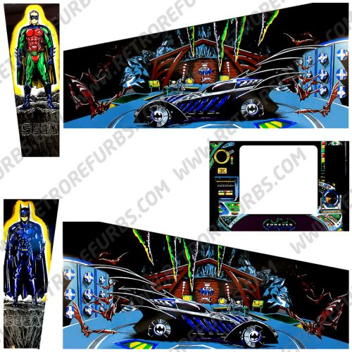 Batman Forever Pinball Cabinet Decals Flipper Side Art Sega Original