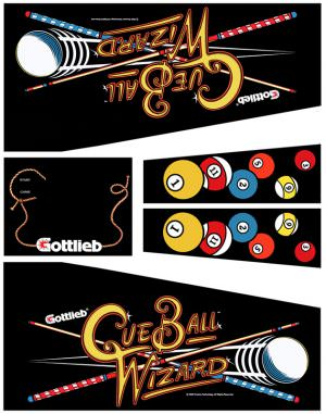 Cue Ball Wizard Pinball Cabinet Decals