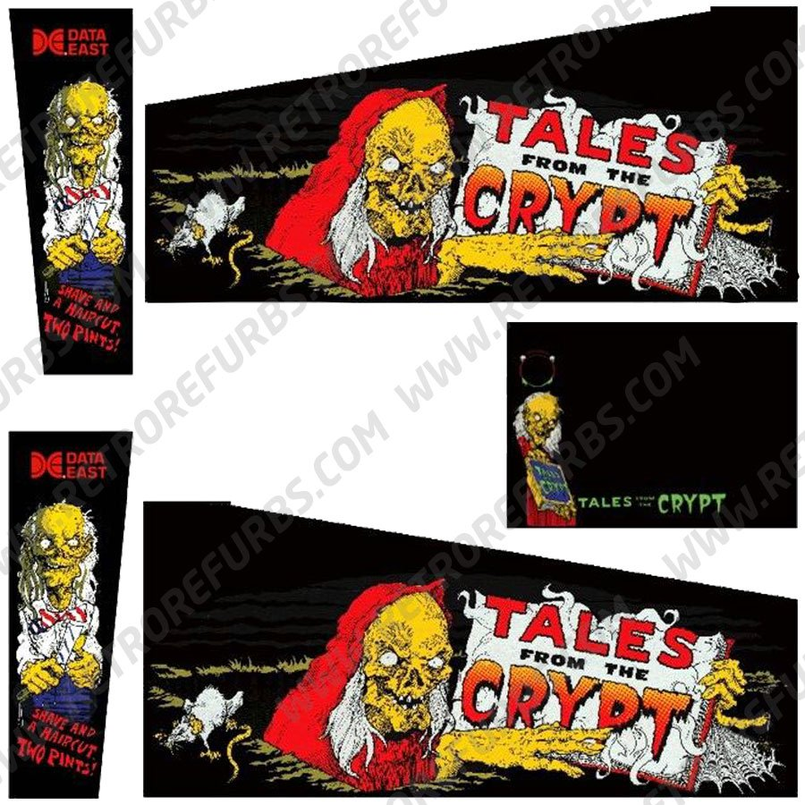 Tales From The Crypt Black Edition Pinball Cabinet Decals Flipper Side Art Data East Original
