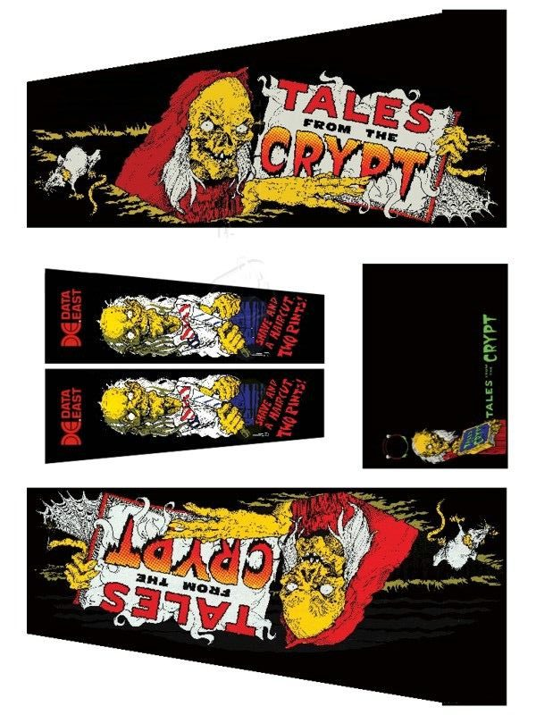Tales From The Crypt Black Pinball Cabinet Decals