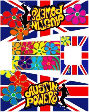 Austin Powers Pinball Cabinet Decals Flipper Side Art