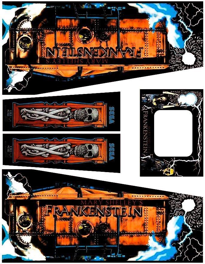 Mary Shelleys Frankenstein - Pinball Cabinet Decals - Retro Refurbs