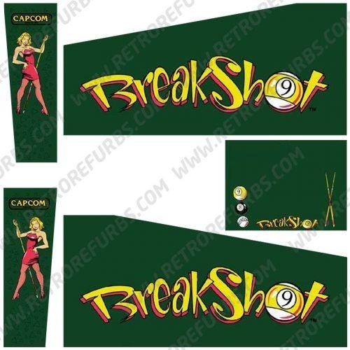 Breakshot Pinball Cabinet Decals Flipper Side Art Capcom Original