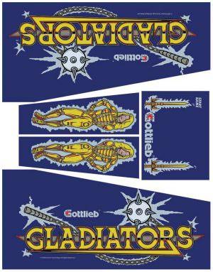 Gladiators Pinball Cabinet Decals