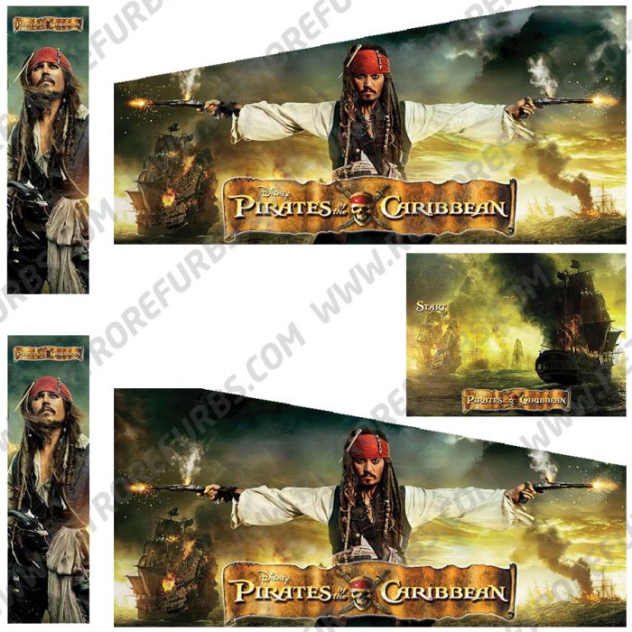 Pirates of the Caribbean Sparrow Edition Alternate Pinball Cabinet Decals Flipper Side Art Original Stern