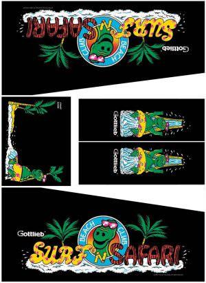 Surf 'n Safari Pinball Cabinet Decals