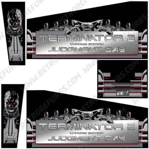 Terminator 2 Chrome Edition Pinball Cabinet Decals Alternate Artwork Alternative Flipper Side Art