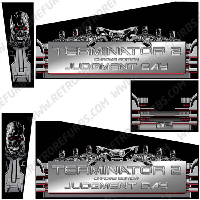 Terminator 2 Chrome Edition Pinball Cabinet Decals Alternate Artwork Alternative Flipper Side Art
