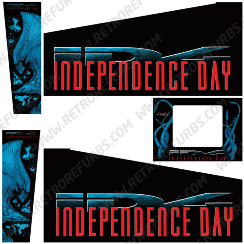 Independence Day Pinball Cabinet Decals Flipper Side Art Sega
