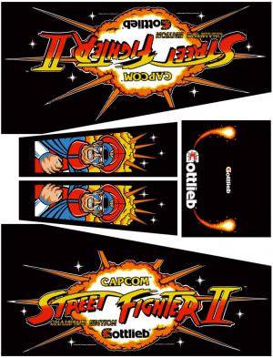 Street Fighter II Black Edition Pinball Cabinet Decals Flipper Side Art