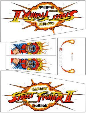 Street Fighter II White Edition Pinball Cabinet Decals Flipper