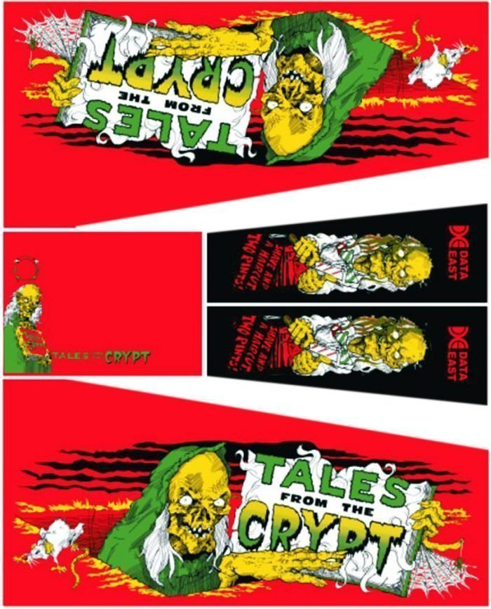 Tales From The Crypt Red Pinball Cabinet Decals Flipper Side Art