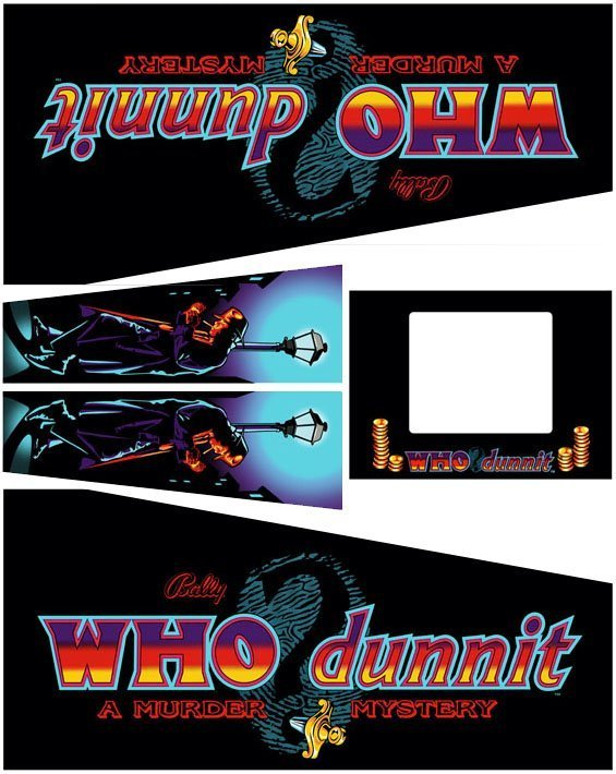 Who Dunnit Pinball Cabinet Decals Flipper