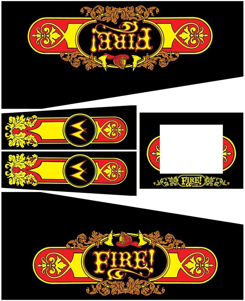 Fire Black Edition Pinball Cabinet Decals Flipper