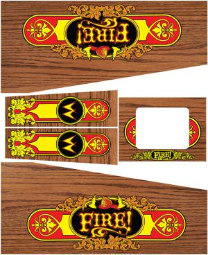 Fire Champagne Edition Pinball Cabinet Decals Flipper