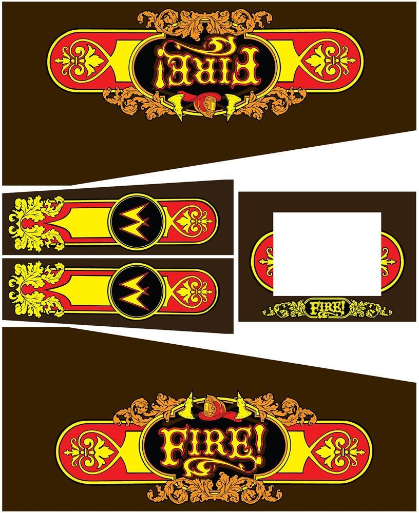 Fire Pinball Cabinet Decals Flipper