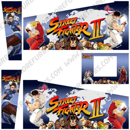 Street Fighter II Warrior Edition Alternate Pinball Cabinet Decals Flipper Side Art Alternate Graphics