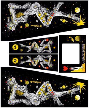 Black Bride of Pinbot Pinball Cabinet Decals Flipper Side Art
