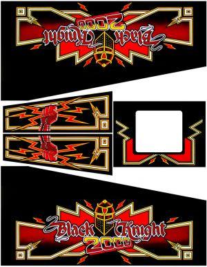 Black Knight 2000 Pinball Cabinet Decals Flipper Side Art