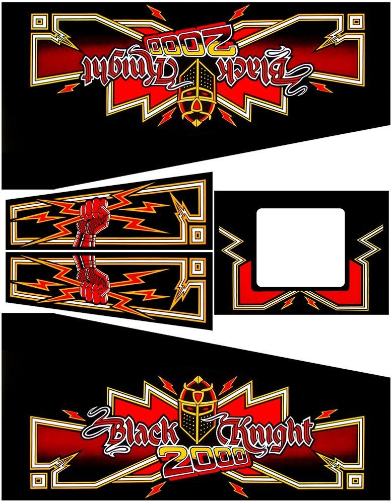 Black Knight 2000 Pinball Cabinet Decals Flipper Side Art