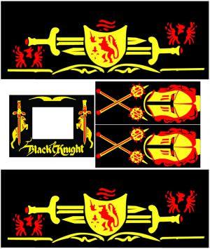 Black Knight Pinball Cabinet Decals Flipper Side Art