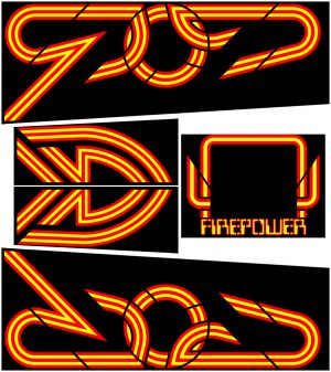 Fire Power Pinball Cabinet Decals Flipper Side Art