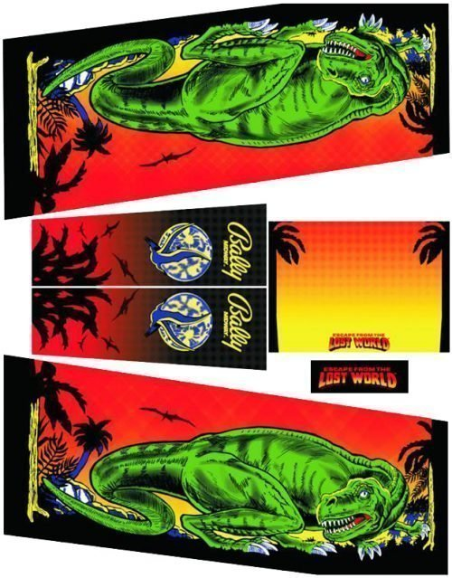 Escape from the Lost World Pinball Cabinet Decals Flipper Side Art