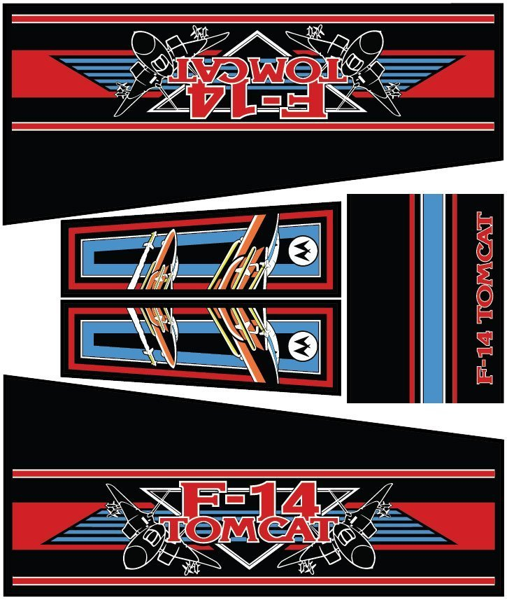 F14 Tomcat Blue Edition Pinball Cabinet Decals Flipper Side Art