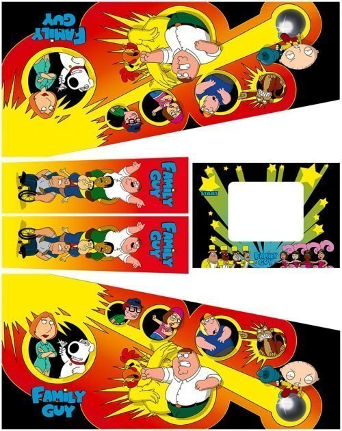 Family Guy Pinball Cabinet Decals Flipper Side Art