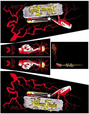 Addams Family Blood Red Pinball Cabinet Decals Flipper Side Art