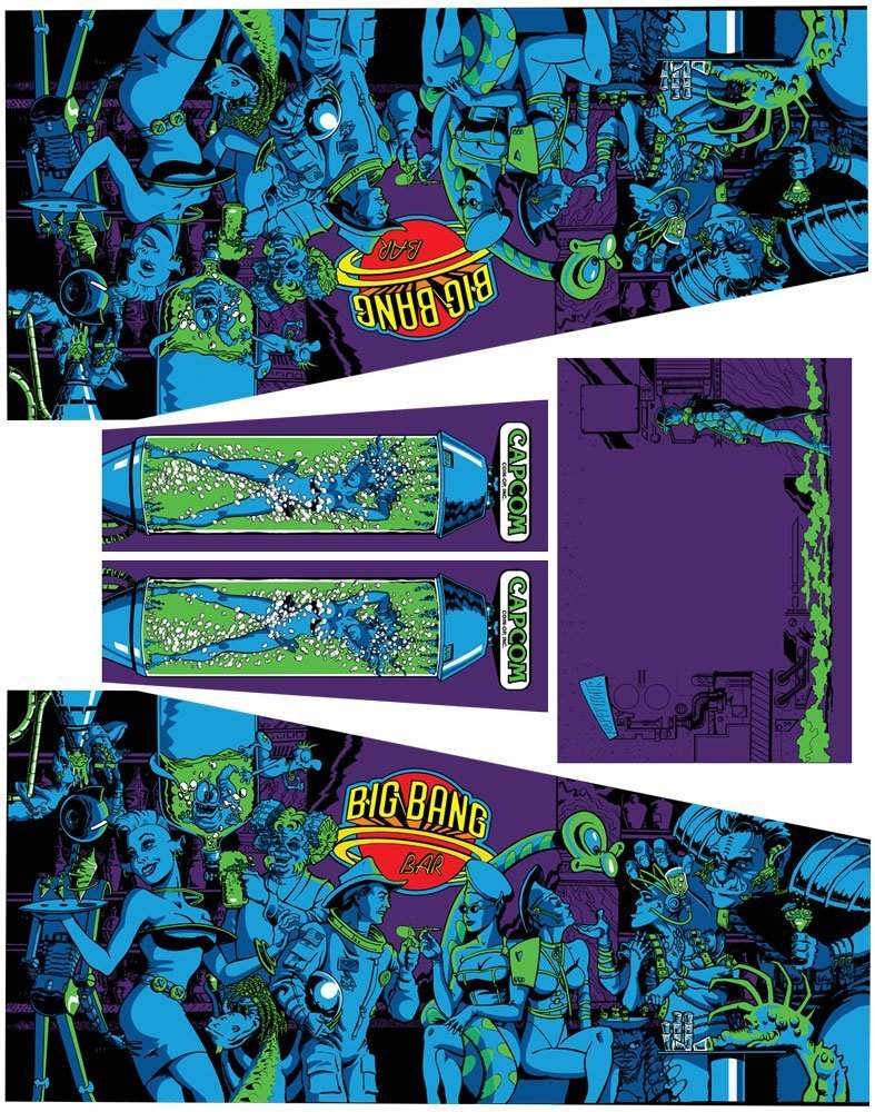 Big Bang Bar Pinball Cabinet Decals Flipper Side Art