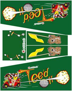 Teed Off Pinball Cabinet Decals Flipper Side Art