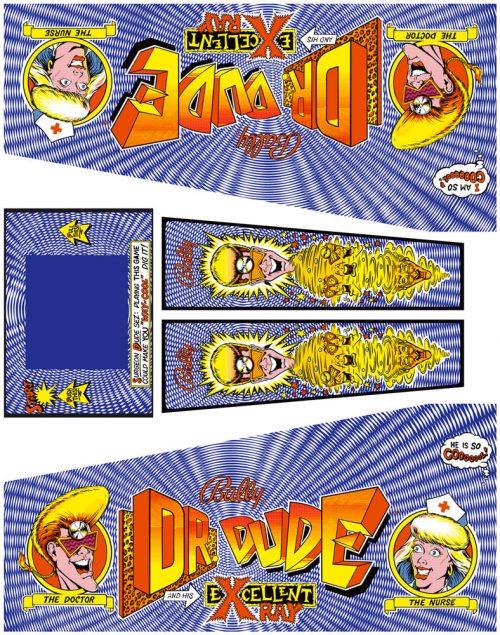 Dr Dude Pinball Cabinet Decals Flipper Side Art