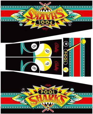 Pool Sharks Pinball Cabinet Decals Flipper Side Art