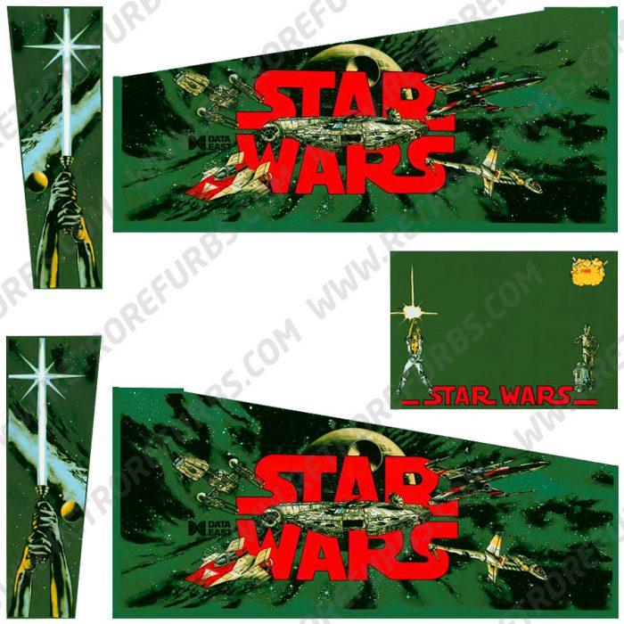 Star Wars Green Yoda Edition Alternate Pinball Cabinet Decals Flipper Side Art Data East