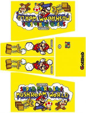 Super Mario Bros Mushroom World Pinball Cabinet Decals Flipper Side Art